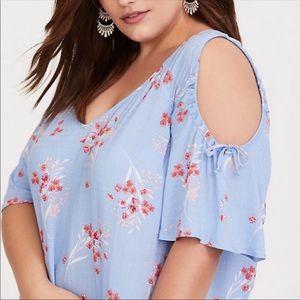 Torrid Blue Floral Cold Shoulder Top Sz 3 ::
